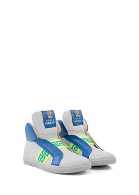 Young Versace Bambino Sneaker in pelle con greca