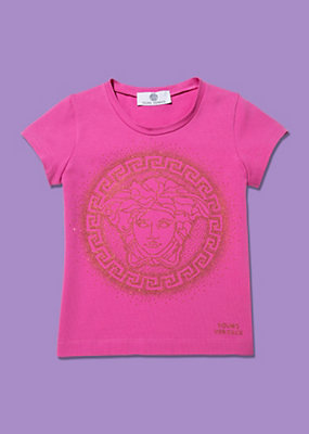 Young Versace Girls Glittering Round-Neck T-Shirt