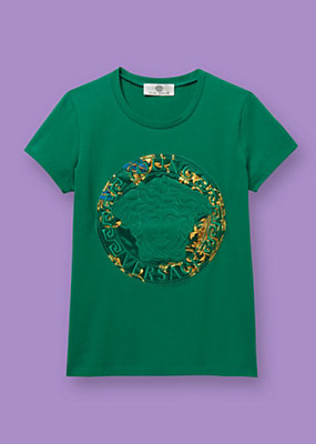 Young Versace Girls T-shirt with logo stitching