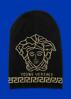 Young Versace Boys Beanie with Medusa and Greca motif