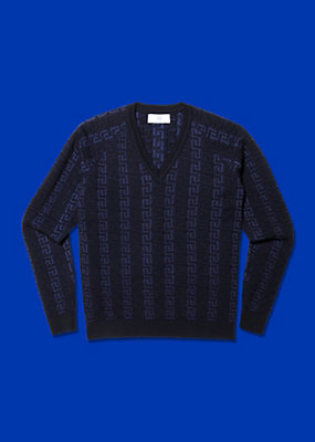 Young Versace Boys Textured Greca sweater