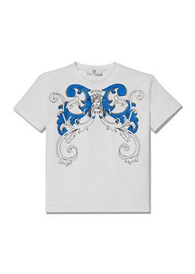 Young Versace Bambino Maglietta con stampa tralci Barocco