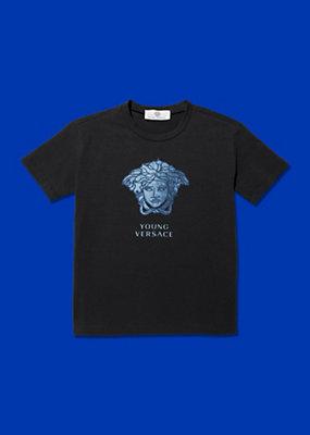Young Versace Bambino T-shirt con logo in jeans