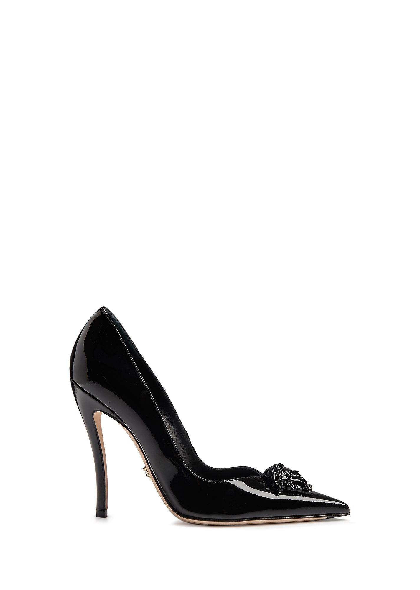 Palazzo Patent Leather Pumps in Black